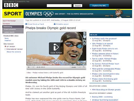 Screenshot of the BBC's page