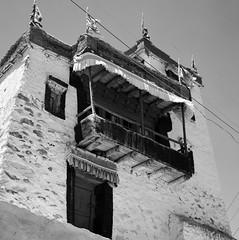 Monastery outside Leh (ndnbrunei) Tags: blackandwhite bw india 120 6x6 tlr film rollei rolleiflex mediumformat square kodak bn mf kodakbw400cn leh rolleiflex28f bw400cn classicblackwhite autaut rolleigallery karakorums ndnbrunei jamuandkashmir