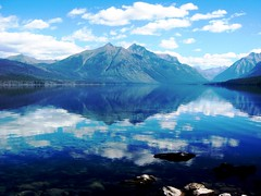 Lake McDonald Dream, Glacier National Park (moonjazz) Tags: park morning blue two lake reflection nature water beauty azul clouds forest wonder landscape rockies climb amazing montana aqua peace treasure natural earth walk glory horizon great peak tourist calm hike double best harmony geology glaciernationalpark wilderness awe pure range preserve wander mountian pristine lakemcdonald