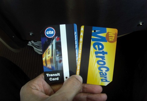 Chicago and New York transit cards