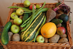 Rectory Farm harvest basket (Margaret Stranks) Tags: uk vegetables fruit basket harvest oxford headingtonbaptistchurch