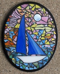 Mosaic Love Boat (Heart Windows Art) Tags: art glass sailboat boat honeymoon yacht handmade mosaic stained thrift recycle scrap millifiori