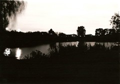 Autumn Evening (Karolina Ballerina) Tags: longexposure blackandwhite film night 35mm canona1 essex afterdark dagenham ilfordhp mayesbrookpark