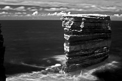 Sea stacks at Downpatrick [3] (Dave Road Records) Tags: ireland blackandwhite landscape infrared mayo countymayo broadhaven lakecarrowmore