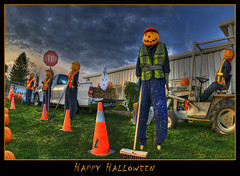 Happy Halloween!! (Dave the Haligonian) Tags: halloween sign pumpkin nikon sigma stop d200 1020mm 2008 hdr happyhalloween distort liquify nkn7007 lafargeconstruction