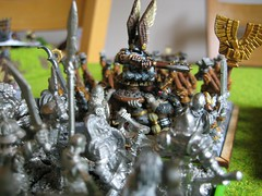 Dwarf Lord on Shield Bearers vs Skeleton porridge unit.