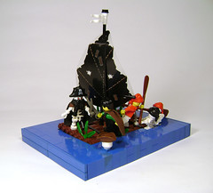 Escape from Monkey Skull Island (DARKspawn) Tags: water skeleton lego pirate dio raft vignette snot diorama legopirates bignette undeadpirates
