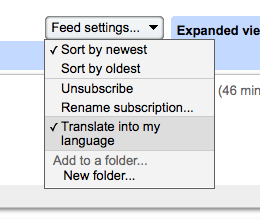 Translate in Google Reader