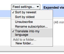 Translate in Google Reader