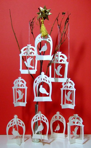 Birdcage papercut Christmas tree
