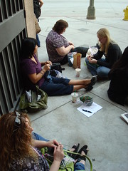My friends knitting in line