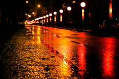 3 AM (Beshef) Tags: street light red color rain yellow night iran tehran