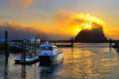 The Arctic Circle in La Push, Washington (Fort Photo) Tags: sunset vacation nature fog landscape boats outdoors bay harbor boat washington nikon ship searchthebest northwest nps ships olympicpeninsula pacificnorthwest wa fishingboat pnw lapush seastack d300 fpg manuallyblendedtwoexposures