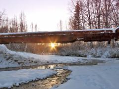 Light Under The Bridge To Nowhere (jack4pics) Tags: alaska railcar settingsun homsteadbridge