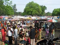Busy bazaar scene