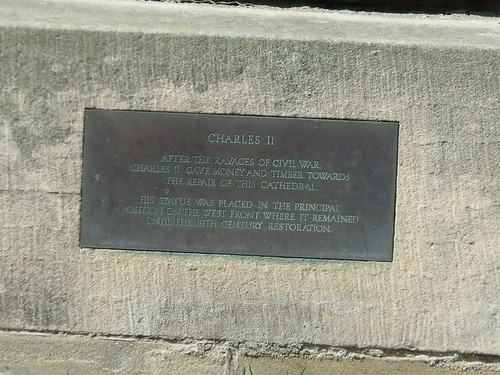 Statue of Charles II at Lichfield Cathedral - plaque