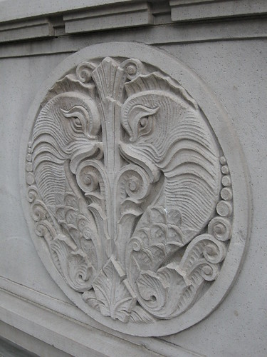 Beautiful carvings on the outside of the Sinclair Building
