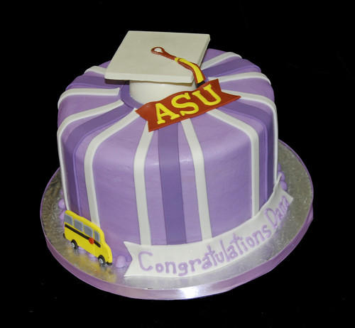 purple ASU graduation cake