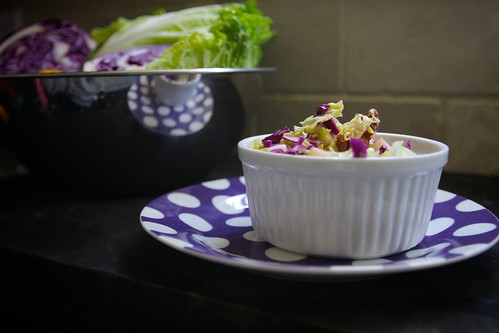cabbage apple slaw with glazed maple walnuts