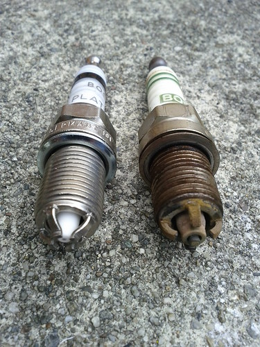 Old and New Spark Plugs