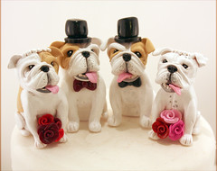 Double-Wedding Bulldogs (Karly West) Tags: figurines sculpey caketoppers bittersweets customcaketoppers bittersweetz