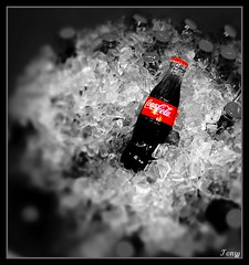 """Refreshing"" (tonyj19) Tags: red ice cutout bottle coke pop tub soda cocacola cubes icecube sodapop refreshment selectivecolor selectivecolorawards"