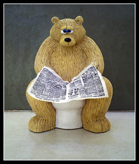 The Secret Life of Bears (Golden Emporium) Tags: life bear favorite brown white news paper fun oso golden newspaper cool teddy secret bears toilet read wc vida pooh views teddybear 1750 poo winnie emporium osos secreta goldenemporium