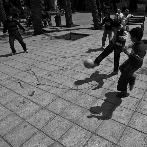 boys playing a ball