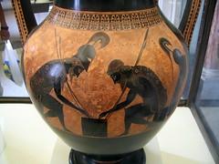 Achilles and Ajax by Exekias (diffendale) Tags: italy black vatican rome roma museum ceramic greek ancient italia vaticano amphora attic vase pottery museo ajax achilles figured etruscan athenian etrusco exekias gregoriano 6thcbce 520sbce pleiades:origin=579885 pleiades:findspot=413393