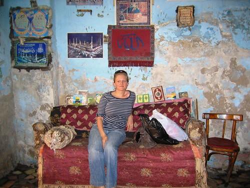 Anna in cotton shop