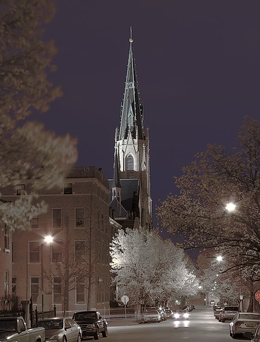 Saints Peter and Paul Roman Catholic Church, in Saint Louis, Missouri, USA - exterior at dusk 2