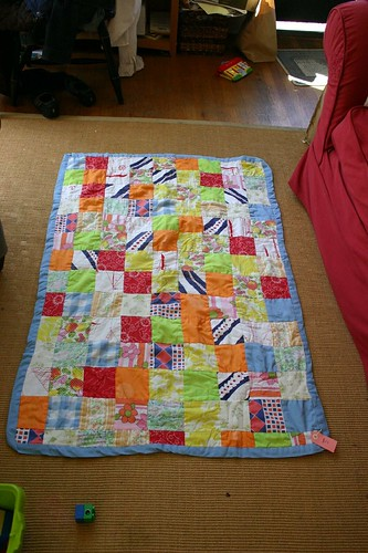 Flea Market Purchase Lap Quilt Made From Baby Clothes Growing Notes