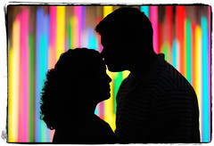 Beam Us Up (Ryan Brenizer) Tags: nyc newyorkcity wedding woman man love colors silhouette engagement nikon kiss bokeh manhattan noflash midtown d3 85mmf14d michelleandtj