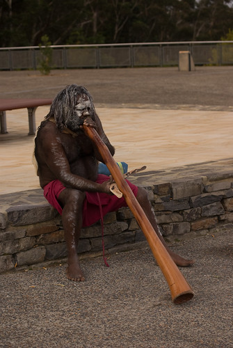 Aboriginal Man Playing Didgeridoo