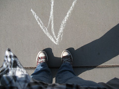 arrows (Gean Shanks) Tags: shadow selfportrait one daylight university crack jeans direction step flagstaff converse arrow plaid northern airzona