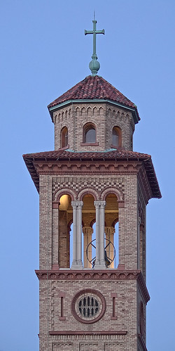 Our Lady of Sorrows Roman Catholic Church, in Saint Louis, Missouri, USA - tower detail at dusk