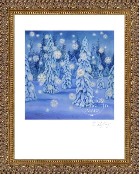 Snowy Night Snow Scene by Elizabeth Ruffing Framed Print