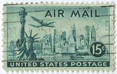 Lockheed Constellation over New York (twm1340) Tags: vintage stamps postoffice stamp usps postage commemorative airmail