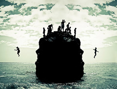 Cloud Nine (SARAΗ LEE) Tags: ocean summer cliff reflection beach water rock kids photoshop hawaii mirror jump oahu north silhouettes shore northshore midair silhouetted waimeabay sarahl sarahlee 15ft legothenego vivantvie
