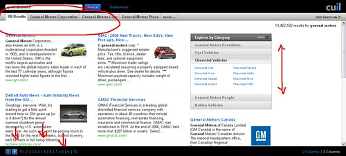 General Motors search results on Cuil