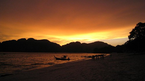 Sunset on Koh Phi Phi Don from Long Beach
