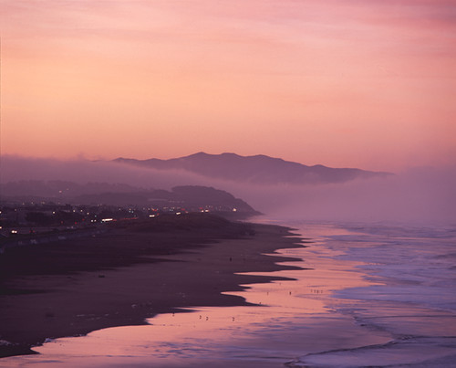 ocean beach fog bank sunrise