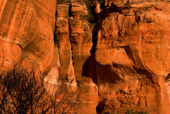 _JCB3063: Cliffs at Sedona at Sunset (John Bruckman) Tags: arizona landscapes hiking sedona caves redrocks meditation spiritual sagebrush pinnacles coconino auras moonscapes yavapai sedonaarizona mountaintrails blueshy outcroppings spiritualplace redrockformations redrocksofsedona