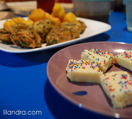 Ramadan 6: Iftar 5: Barfi, Pholourie and Saheena by Lilandra