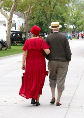 1920's couple (Deb Malewski) Tags: 1920s red history hat fashion clothing couple frombehind flapper thumbsup stroll strawhat greenfieldvillage photofaceoff pfogold thumbsupwinner herowinner