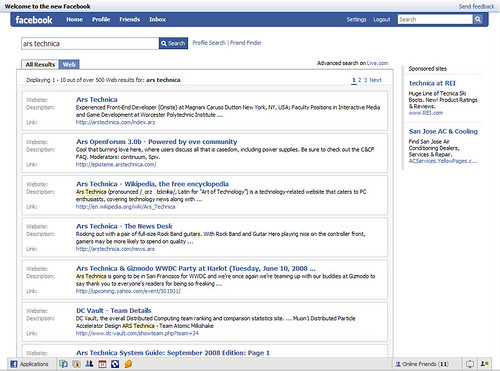Live Search on Facebook. Image courtesy of Ars Technica