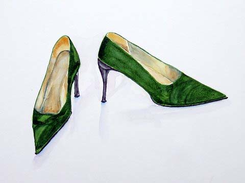 Green shoes, by Catie