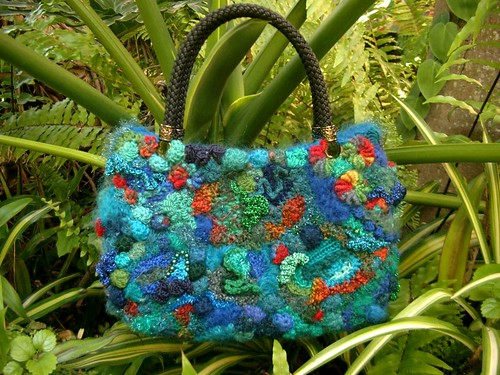 purse from freeform knit and crochet scrumbles