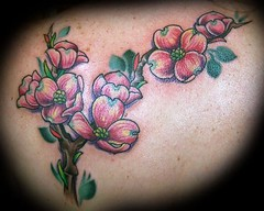 dogwood flowers tattoo (maliareynolds) Tags: pink flowers atlanta flower branch branches tattoos dogwood dogwoods memorialtattoo maliareynolds femaletattooer atlantatattooer