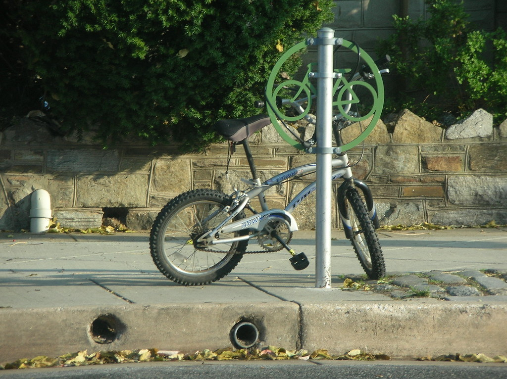 bike stand with a mini bike, in Hampden